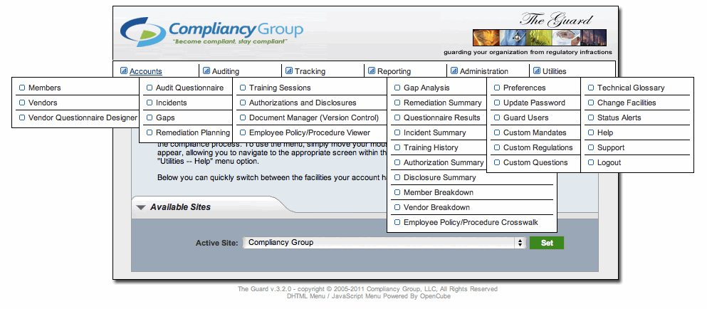 The Guard HIPAA Compliance Menu